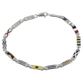 Bracelet with 14kt white gold and enameled flags
