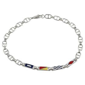 White gold enameled men's bracelet with anchor chain