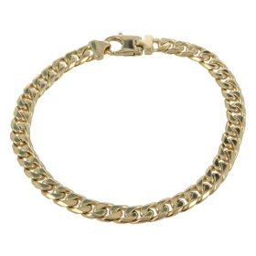 Medium men's curb bracelet in solid 14kt yellow gold
