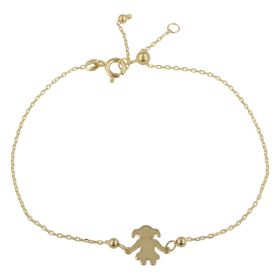 "Adjustable 14kt yellow gold ""Girl"" bracelet 
