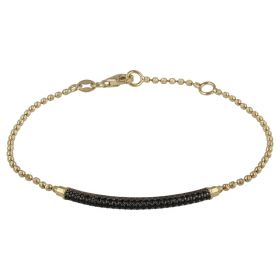 Yellow gold tube bracelet with cubic zirconia beads | Gioiello Italiano