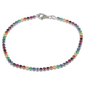"""Rainbow"" tennis bracelet in 14kt white gold and zircons 