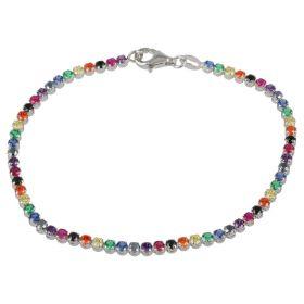 """Rainbow"" tennis bracelet in 14kt white gold and zircons"