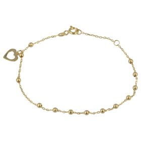 Yellow gold bracelet with heart and beads | Gioiello Italiano