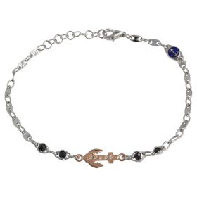 """Anchor"" bracelet in two-tone 14kt gold with cubic zirconia and enamel  