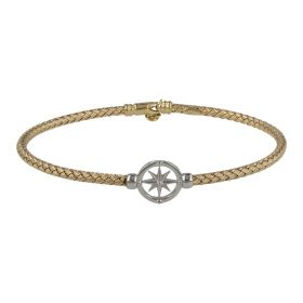 Men's yellow and white gold intertwined Compass bangle bracelet | Gioiello Italiano