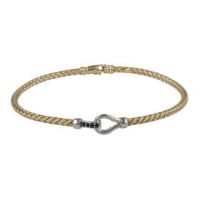 Men's braided Hook bracelet in 14kt yellow and white gold with black zircons | Gioiello Italiano