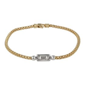 Men's yellow gold bracelet with white or burnished gold element | Gioiello Italiano