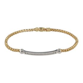 14kt yellow gold bracelet with plaque and zircons | Gioiello Italiano