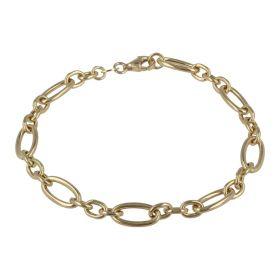 14kt gold empty figaro-type bracelet | Gioiello Italiano