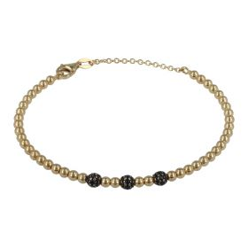 14kt yellow gold bangle bracelet paved with black zircons | Gioiello Italiano