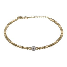 Bangle bracelet with yellow gold beads and zircons | Gioiello Italiano