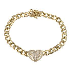 Bracciale grumetta con cuore e pavé di zirconi in oro giallo | Gioiello Italiano