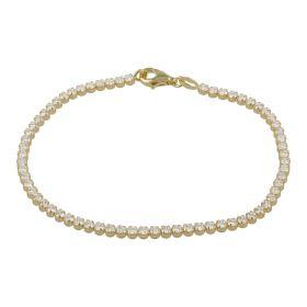 Yellow gold tennis bracelet with white zircons | Gioiello Italiano