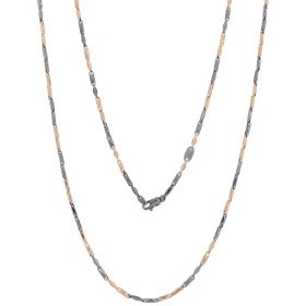14kt rose gold chain with ruthenium