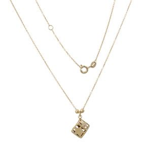 Yellow gold necklace with cube pendant and stars
