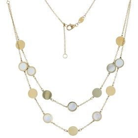 Yellow gold double-wire necklace with mother-of-pearl