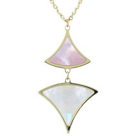 Yellow gold necklace with white and pink mother-of-pearl