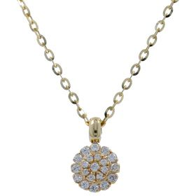 14kt gold necklace with cubic zirconia | Gioiello Italiano