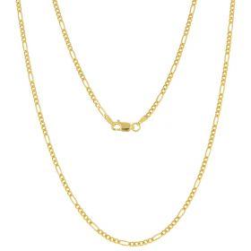Flat yellow gold figaro chain
