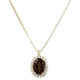 14kt yellow gold necklace with smoky quartz and zircons