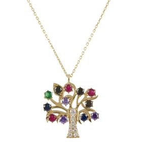 """Tree of Life"" yellow gold necklace with stones"