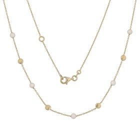 Light yellow gold necklace with cultured pearls