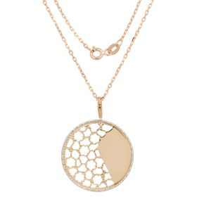 Rose gold necklace with round pendant