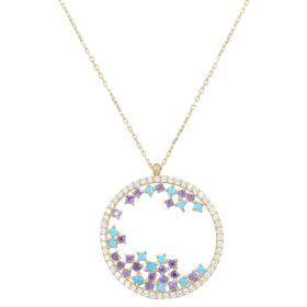 Necklace with circle pendant and colored zircons