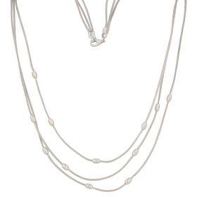 Necklace three wires white gold mesh 14kt