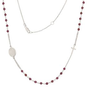 Light white gold rosary necklace with colored stones