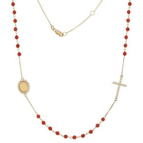 Rosary necklace in yellow gold with coral or turquoise