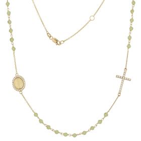 Yellow gold rosary necklace with green stones and zircons