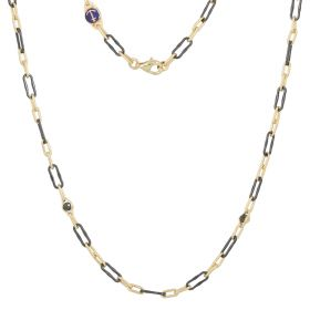 Men's necklace in yellow gold and black ceramic
