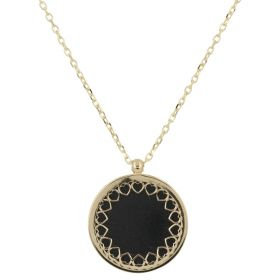 Necklace with heart frame in yellow gold and onyx | Gioiello Italiano