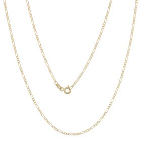 Thin figaro chain in 14kt yellow gold