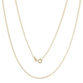 Thin curb chain in 14kt yellow gold