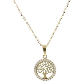 """Tree of Life"" necklace with zircons in 14kt yellow gold"