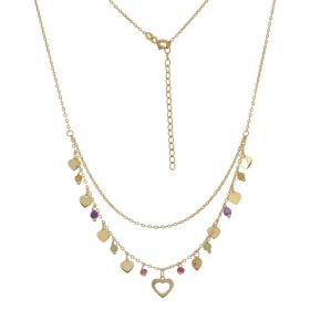 Multistrand necklace with hearts in 14kt yellow gold | Gioiello Italiano