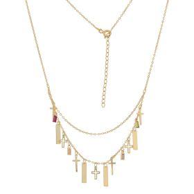 Multistrand necklace with crosses in 14kt yellow gold | Gioiello Italiano