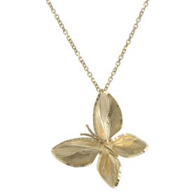 Collana a farfalla in oro giallo diamantata