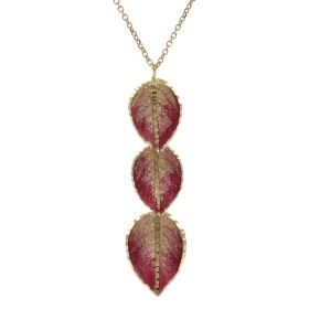 """Three Leaves"" necklace in 14kt yellow gold with enamel and glitter 