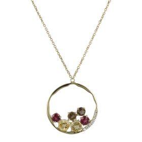 Collana con pendente a cerchio in oro giallo e pietre naturali | Gioiello Italiano