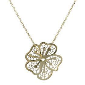 14kt yellow gold flower necklace | Gioiello Italiano