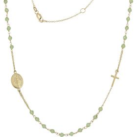 Rosary necklace in yellow gold with green zircons