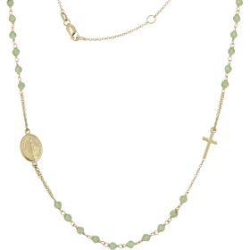 Collana rosario in oro giallo con zirconi verdi