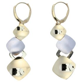 """Polished yellow and white gold """"Glitter"""" earrings"""