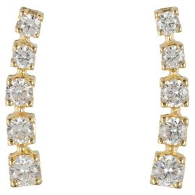 Ear cuff earrings in yellow gold and cubic zirconia