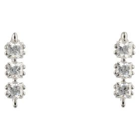 14kt white gold trilogy earrings with cubic zirconia