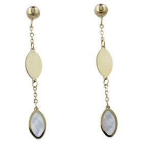 Yellow gold earrings with mother-of-pearl